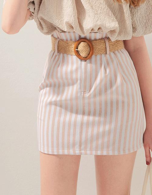 美式條紋花苞短裙(附腰帶)