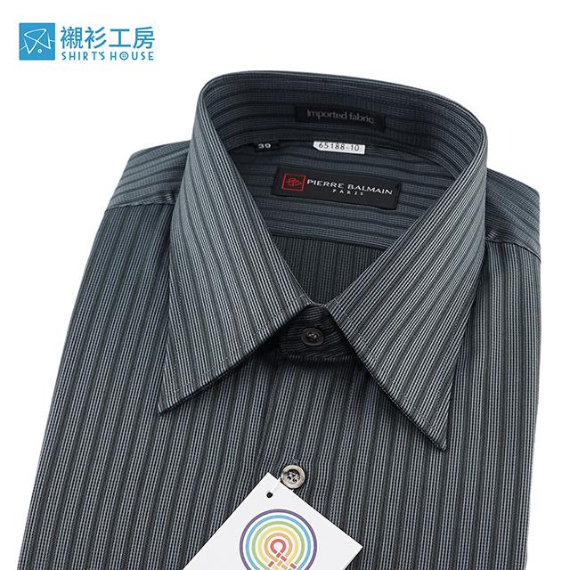 皮爾帕門pb黑色條紋、歐風質感穿著、進口素材寬鬆版長袖襯衫65188-10-襯衫工房