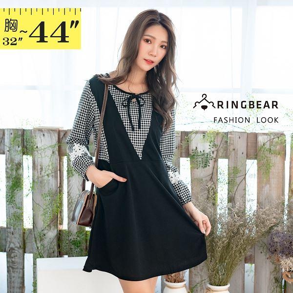 氣質洋裝--甜美格紋拼接蝴蝶織帶蕾絲口袋A字假兩件長袖連衣裙(黑M-2L)-A377眼圈熊中大尺碼