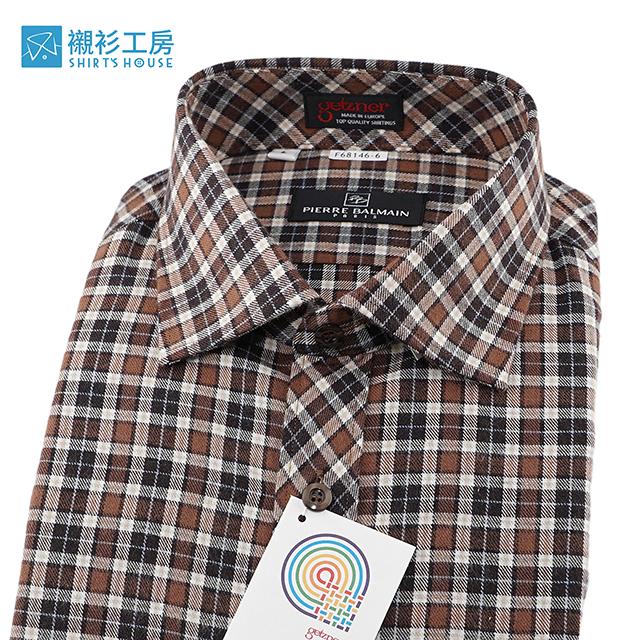 皮爾帕門pb棕色細格紋、門襟作斜格設計、進口素材、保暖厚料下擺齊支可當襯衫外套68146-06-襯衫工房