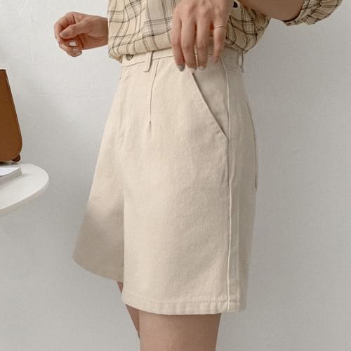 韓國空運 - 縫線點綴高腰寬管短褲