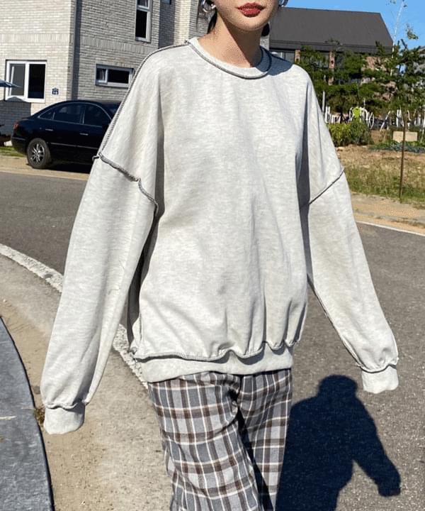 韓國空運 - Cent stitch overfit sweatshirt 長袖上衣