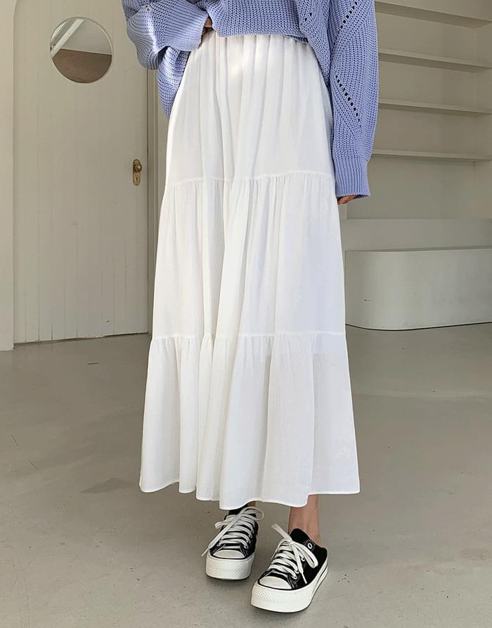 韓國空運 - 鬆緊腰褶皺長款半身裙 裙子