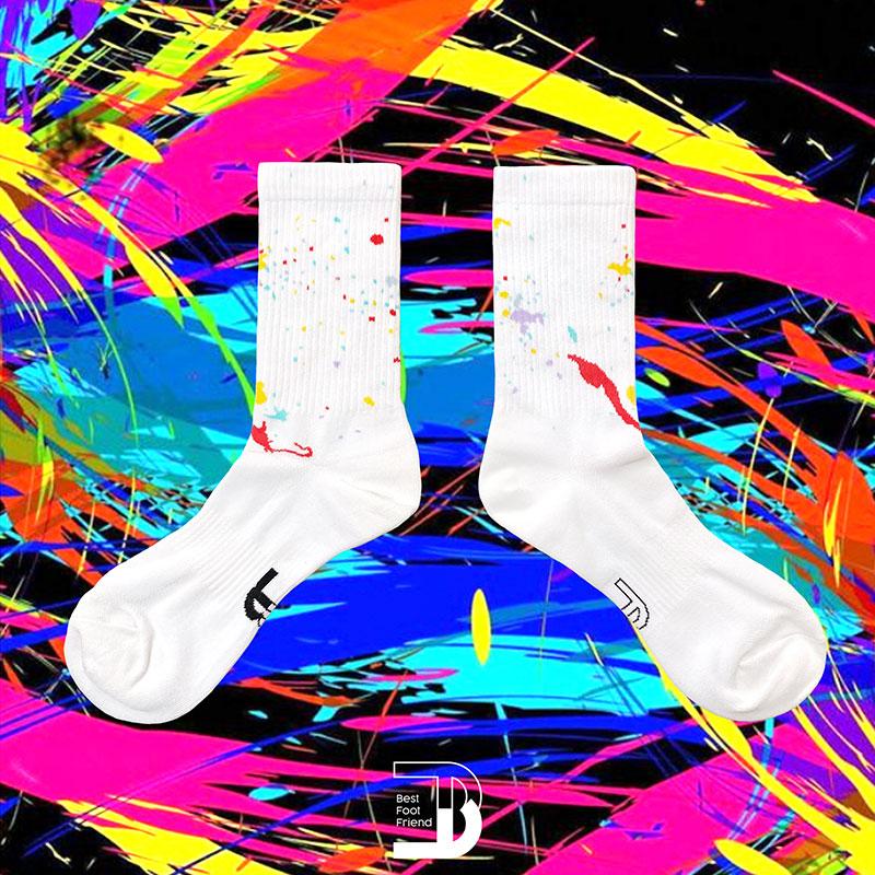 BEST FOOT FRIEND - BF200015-02 潑漆點點 BFF 中筒襪 / 小腿襪 (白色)