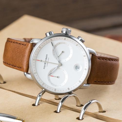【限時短促88折up!】現貨 ND手錶 Pioneer 先鋒 42mm 月光銀殼×白面 復古棕真皮錶帶 Nordgreen 北歐設計師手錶 計時碼錶 PI42SILEBRXX 熱賣中!