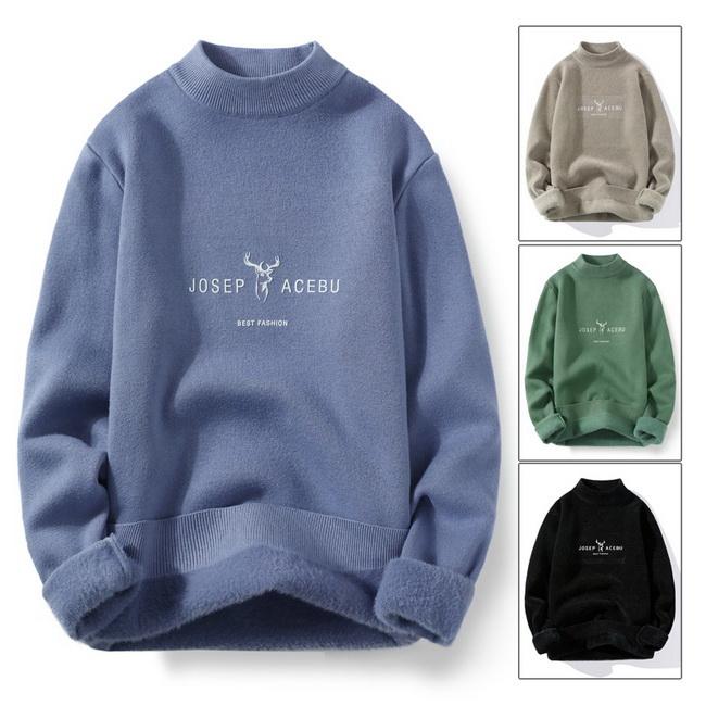 FOFU-(任選2件980)加厚一體絨毛衣半高領保暖套頭針織衫【08SB00131】