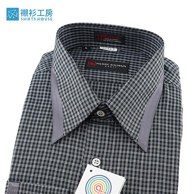 皮爾帕門pb黑色細格紋、領面克夫滾條變化、超值進口素材寬鬆版長袖襯衫64194-09-襯衫工房