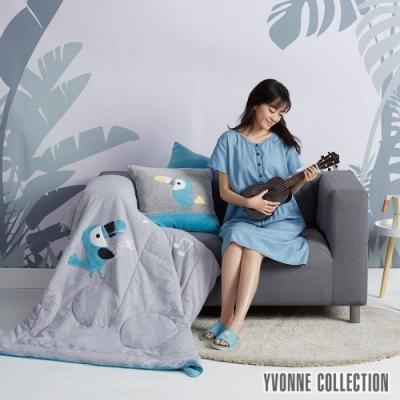 YVONNE COLLECTION 音符大嘴鳥四季被(4x5呎_適合車用披毯/沙發蓋毯/兒童使用)-寧靜灰/晴空藍