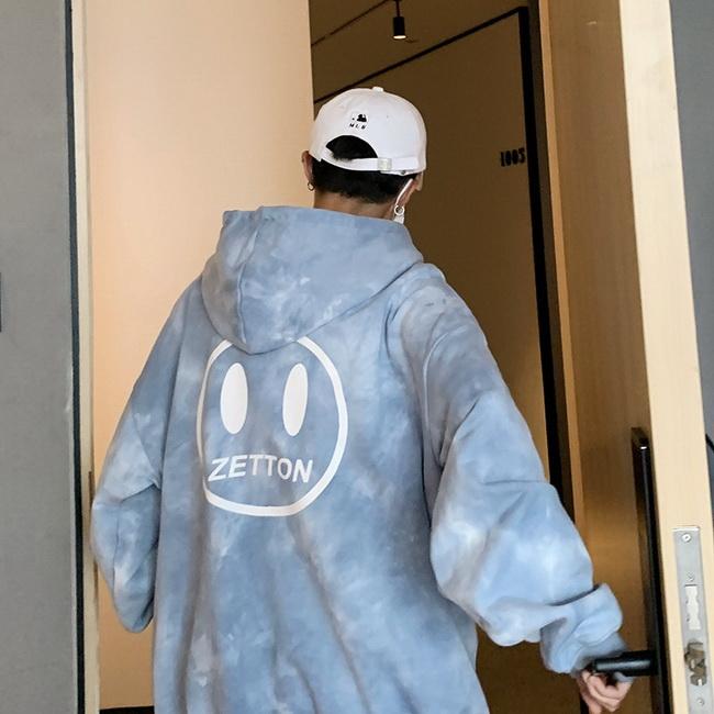 FOFU-ManStyle漸變色連帽大學T韓版寬鬆嘻哈外套慵懶風加絨上衣【08SB00067】
