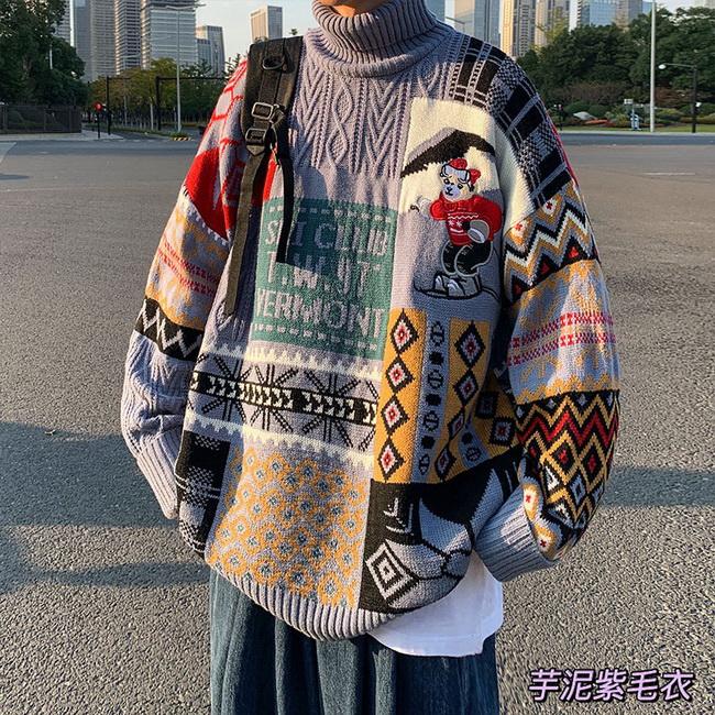 FOFU-ManStyle加厚毛衣高領寬鬆慵懶針織衫韓版潮流個性情侶裝【08SB00065】
