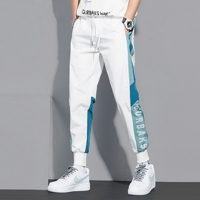 FOFU-ManStyle休閒褲子寬鬆休閒九分潮流運動韓版白色束腳褲子【08SB00049】