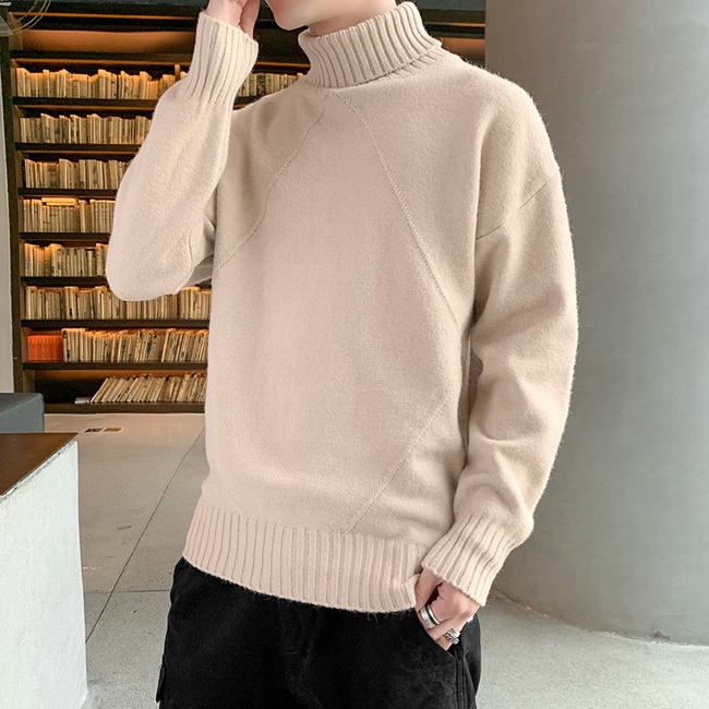 FOFU-(任選2件888)兩翻領高領針織素面打底內搭毛衣【08SB00095】