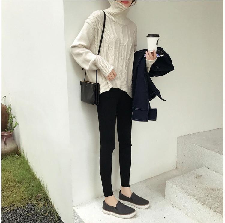 【missy shop】加絨款.極瘦彈力黑褲