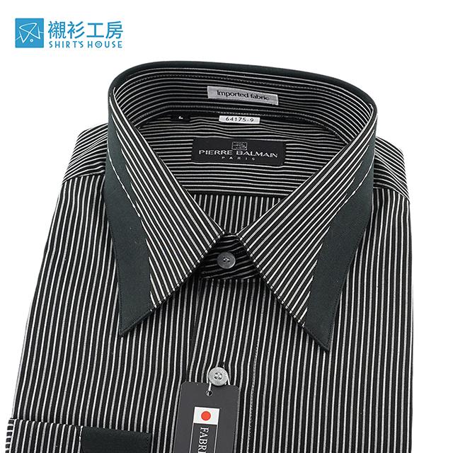 皮爾帕門pb黑色底白細條、領面克夫切割變體、進口素材、黑狗兄寬鬆版長袖襯衫64175-09-襯衫工房