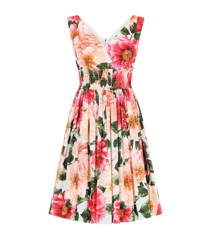 Dolce & Gabbana Cotton Camellia Mini Dress