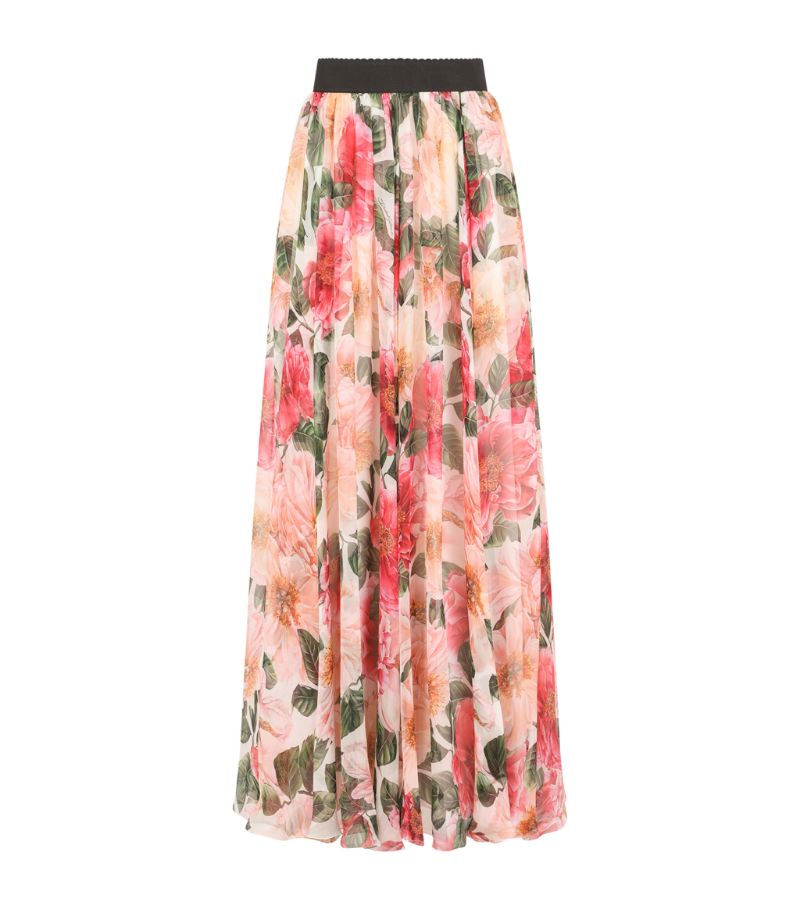 Dolce & Gabbana Silk Camellia Print Maxi Skirt