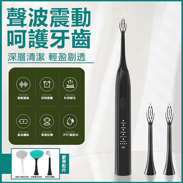 台灣現貨 Alyson廠家直銷USB智慧多功能聲波電動牙刷軟毛潔面護理禮品 蜜斯蜜糖
