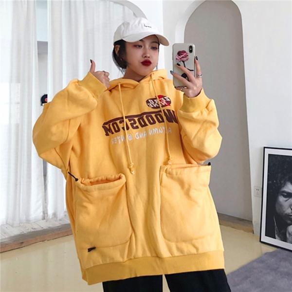 M-XL實拍 韓版連帽寬鬆字母印花中長版加絨加厚長袖棉T恤(2色)-優美依戀