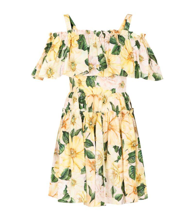 Dolce & Gabbana Cotton Camellia Print Mini Dress