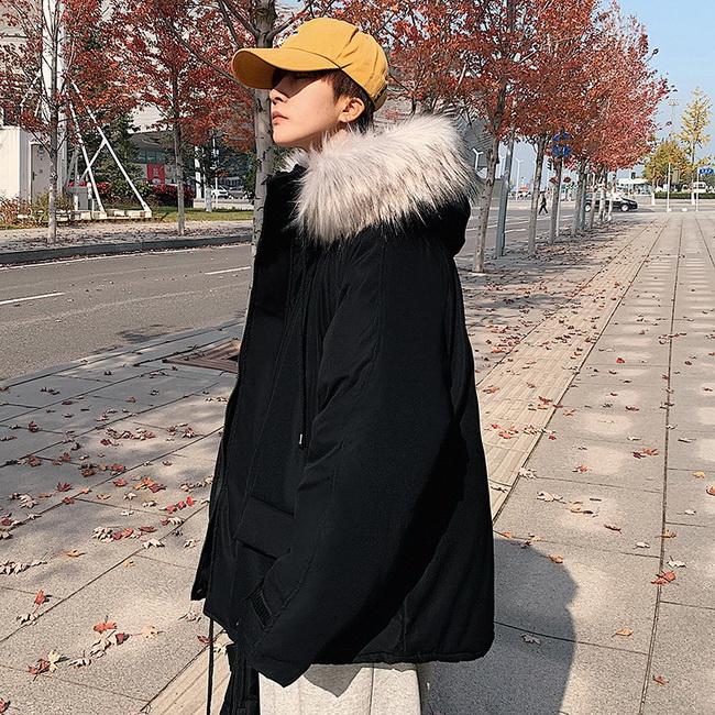 FOFU-冬裝潮鋪棉潮牌素面加厚保暖鎖溫連帽鋪棉外套【08SB00198】