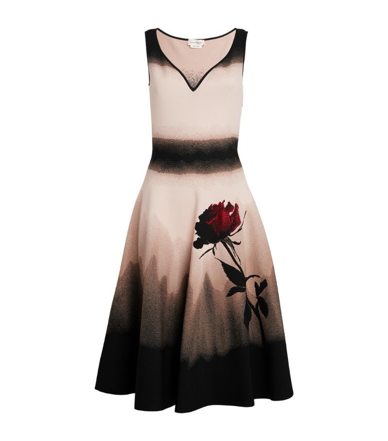 Alexander Mcqueen Shadow Rose Midi Dress
