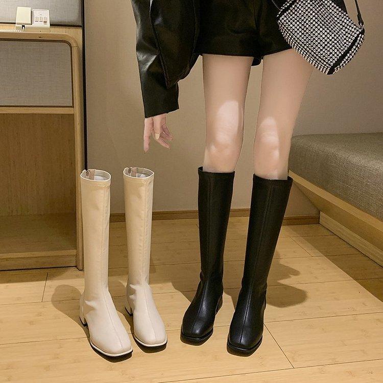 ❤現貨❤34-43碼 大尺碼高筒靴 超顯瘦膝下靴 軟皮長靴 舒適低跟皮靴子 騎士靴 大碼現貨