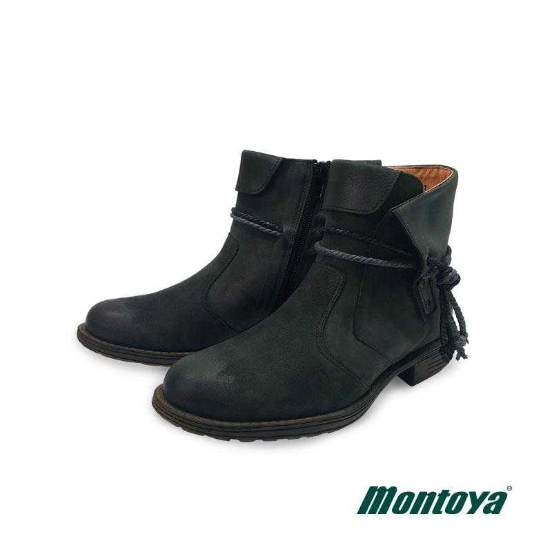 montoya 女款 霧感黑 個性編織繩側拉鍊短靴-828831