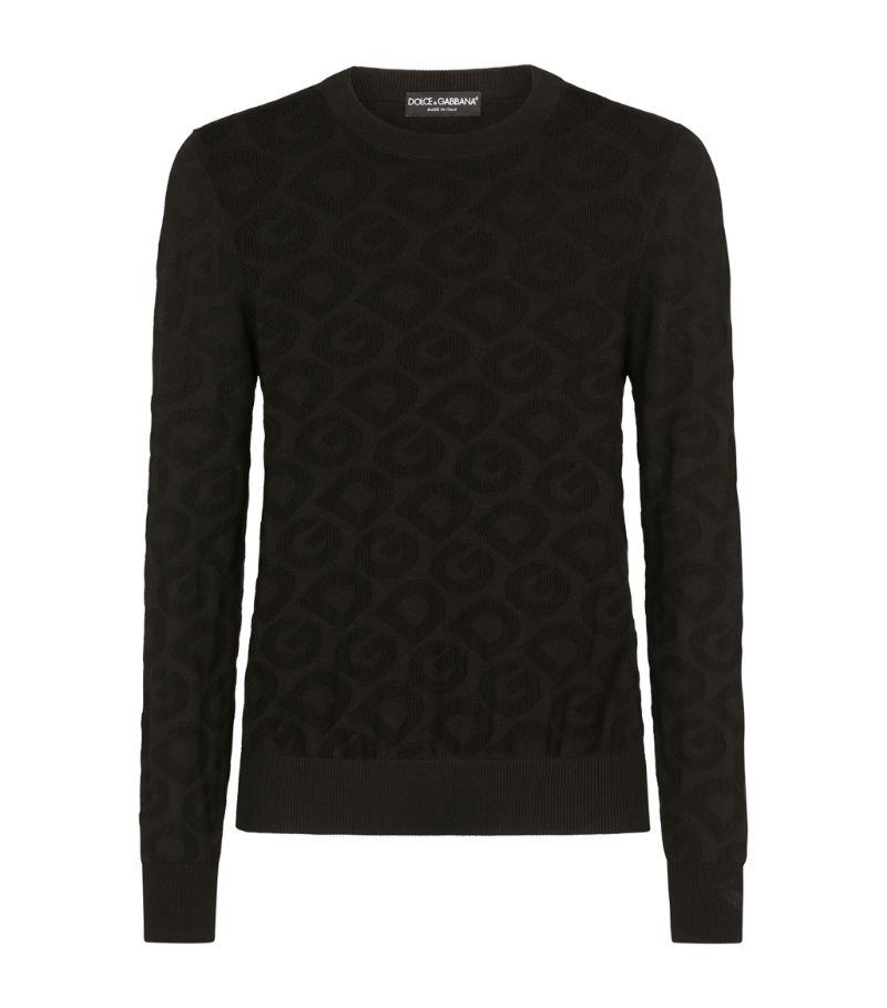 Dolce & Gabbana Silk Jacquard Logo Sweater