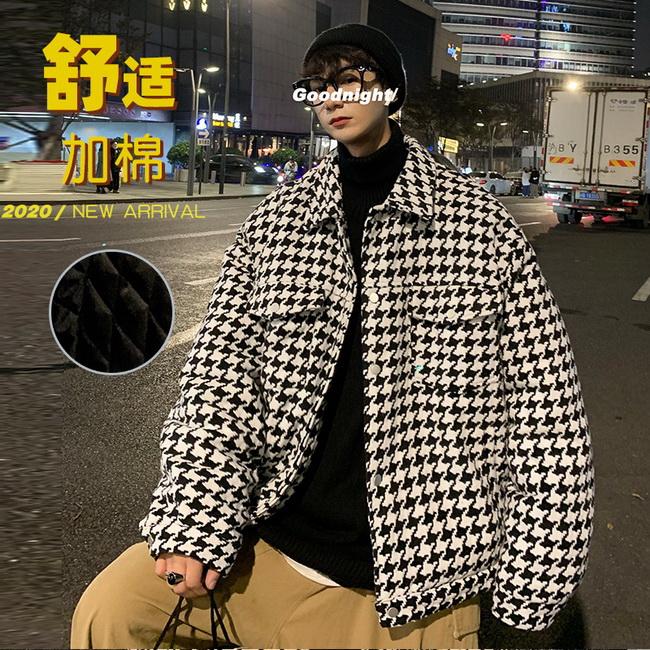 FOFU-黑白千鳥格子呢料夾克加厚保暖鋪棉外套【08SB00191】