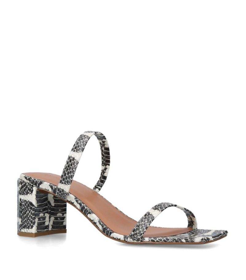 By Far Snakeskin Print Leather Tanya Mules 70
