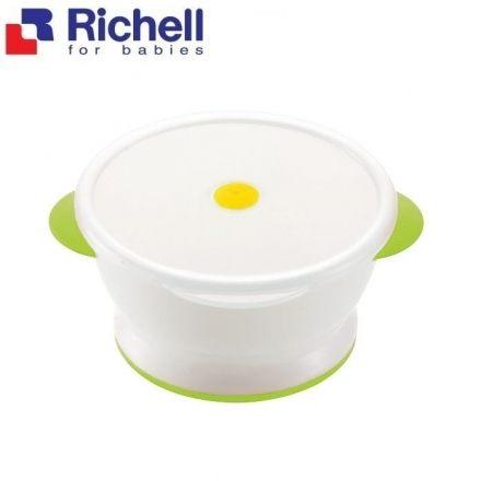 Richell 利其爾-ND 飯碗(附帶微波用蓋)-白綠
