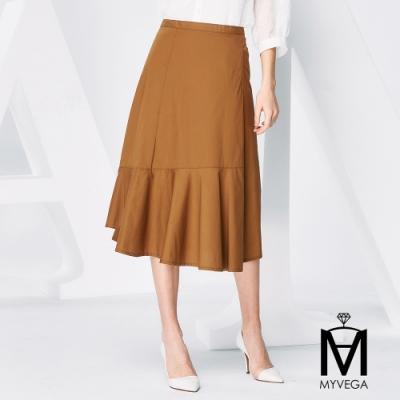 麥雪爾 MA純棉日系多層魚尾裙-卡其