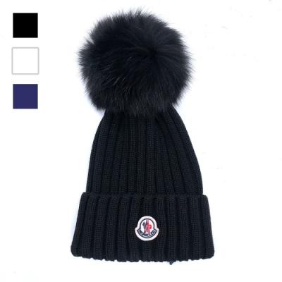 MONCLER 品牌徽標羊毛毛線帽(黑/白/藍)