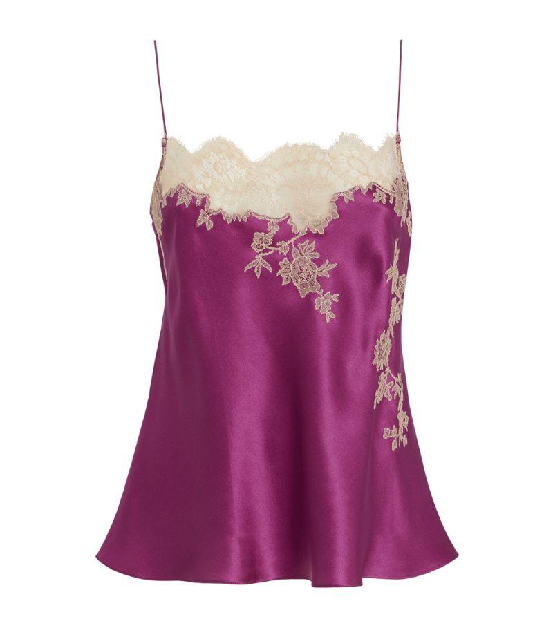 Carine Gilson Silk Lace-Trim Camisole