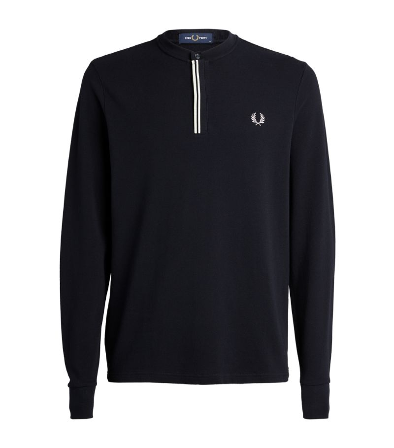 Fred Perry Cotton Henley Long-Sleeved T-Shirt