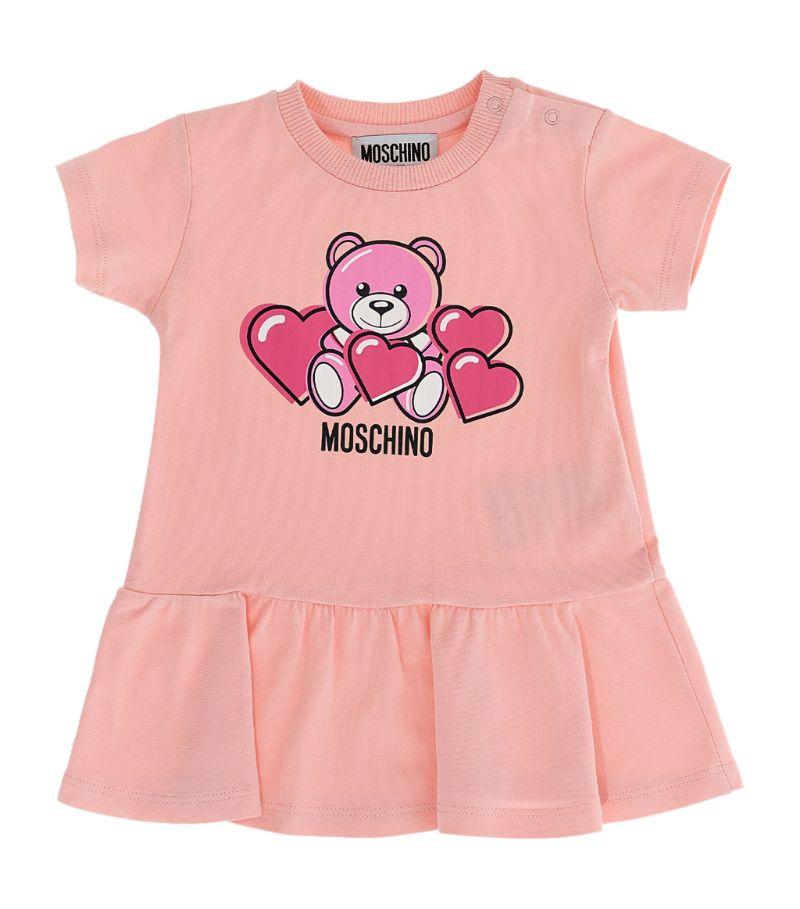 Moschino Kids Teddy Bear Love Hearts Dress (3-36 Months)