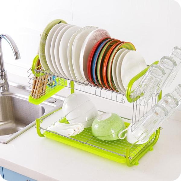 優思居 鐵藝廚房碗架 落地雙層碗筷瀝水架放餐具用品收納置物架 時尚芭莎