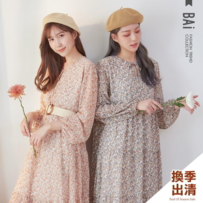 長洋裝 雙色花葉小V口綁帶傘擺蛋糕連身裙-BAi白媽媽【301765】