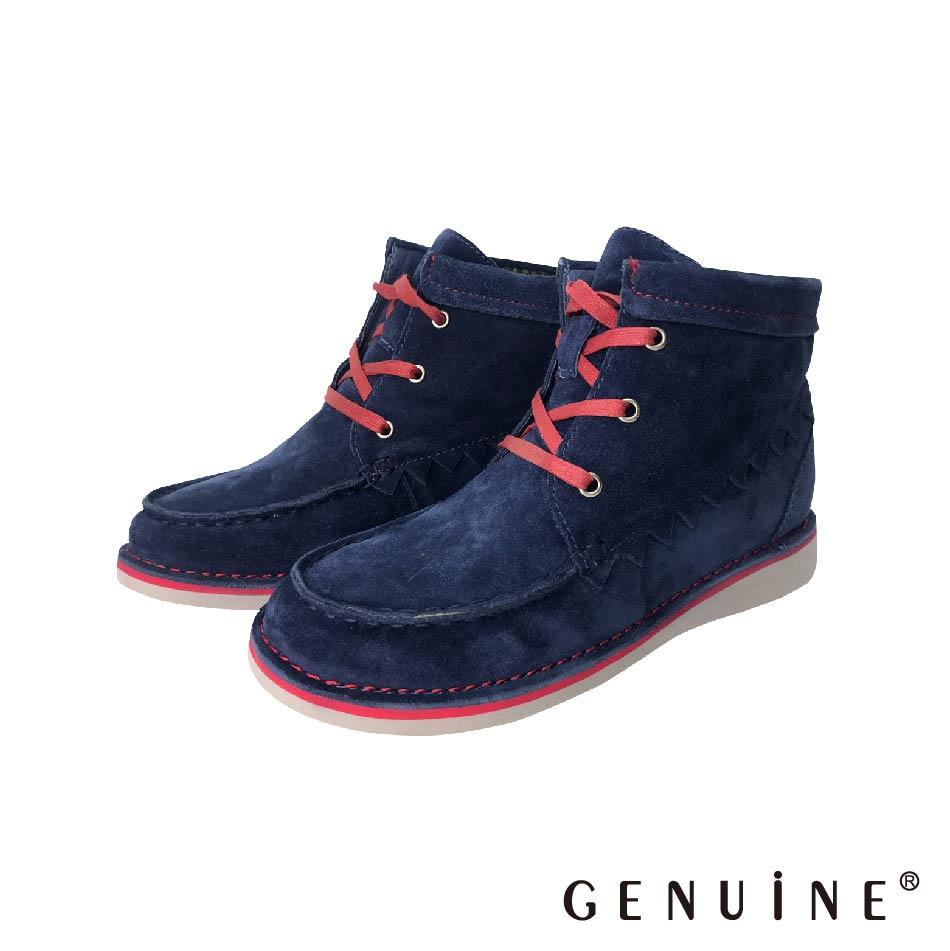 GENUINE   女款  藍色  牛反毛皮時尚短靴- C5803