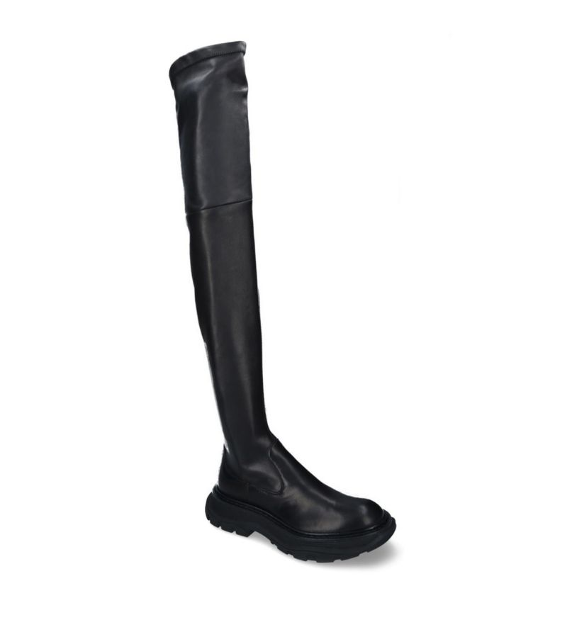 Alexander Mcqueen Leather Tread Slick Thigh-High Boots