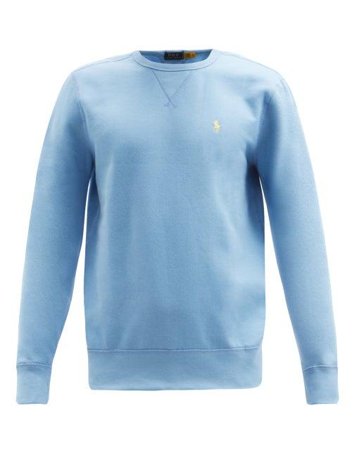 Polo Ralph Lauren - Logo-embroidered Cotton-blend Jersey Sweatshirt - Mens - Light Blue