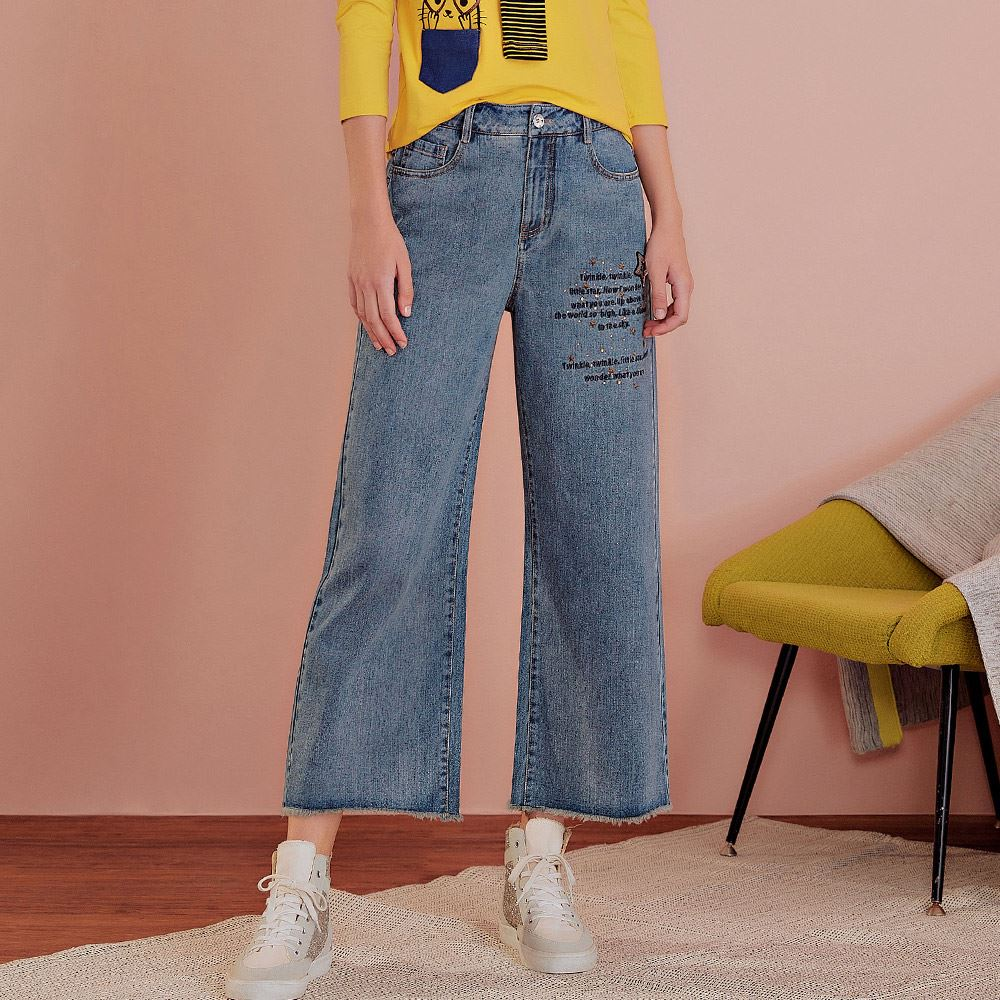 OUWEY歐薇 星星字母刺繡牛仔寬褲(藍)J56629