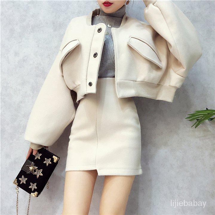 時尚套裝2020蝙蝠袖毛呢短款外套高腰不規則半身裙小香風呢子套裝