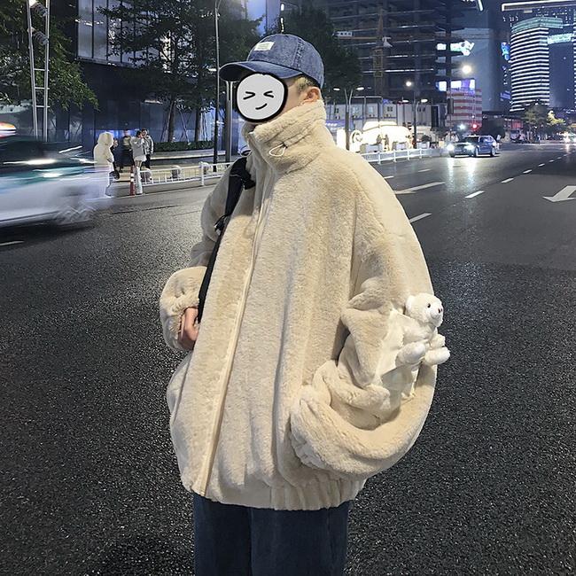 FOFU-兔絨加厚鋪棉外套可愛小熊情侶寬鬆保暖外套【08SB00192】