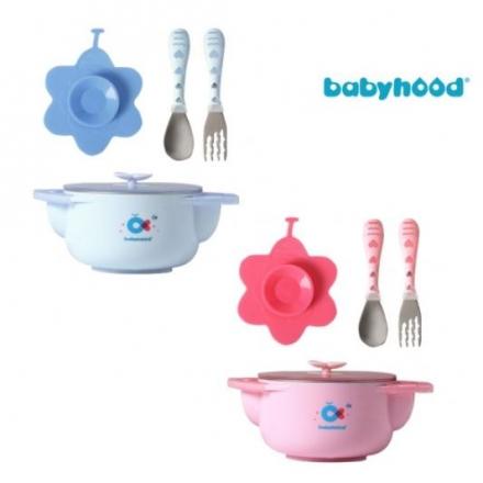Babyhood 世紀寶貝 不銹鋼兒童餐具3件組(藍色/粉色)