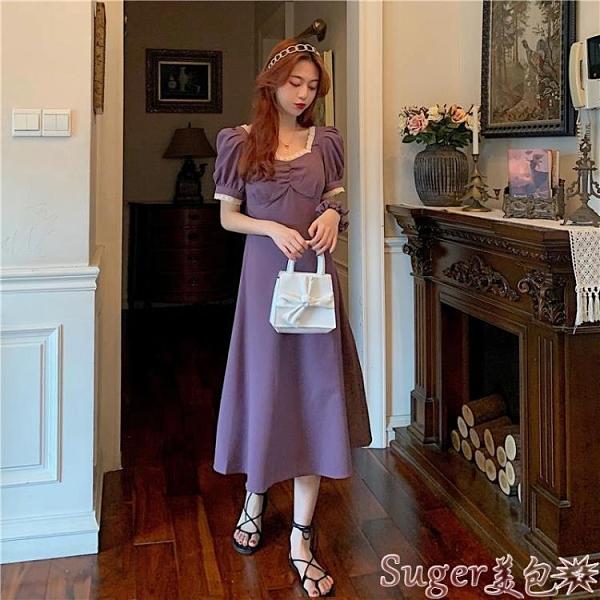 雪紡洋裝 新款法式復古氣質方領蕾絲拼接短袖中長裙子森系小香風雪紡連身裙 suger
