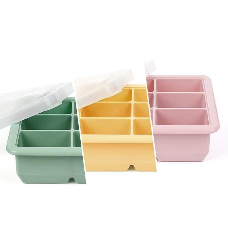 6格矽膠副食品分裝盒/製冰盒 綠色