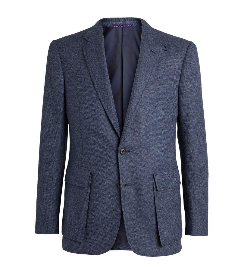 Ralph Lauren Purple Label Wool-Silk Herringbone Kent Blazer