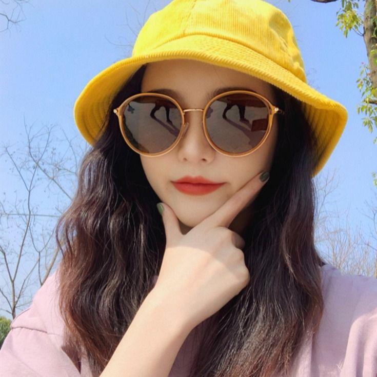 原宿復古墨鏡 氣質甜美 太陽眼鏡女韓版潮復古原宿風 雙色漸層 太陽鏡女眼鏡