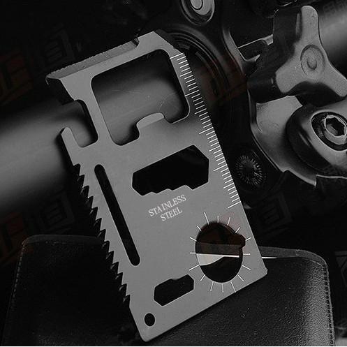 (現貨) BC-013 黑色 救生卡 軍刀卡 工具卡 卡片刀 便攜式萬能 不鏽鋼 11種功能 戶外旅行野營救生 帶皮套